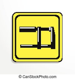 Clamp. Vector icon. - Black and white vector image.