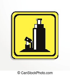 Car Jack. Vector icon. - Black and white vector image.