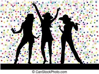 Beautiful women dancing Background dots