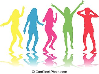Beautiful women dancing.Colored silhouettes.