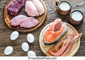 Protein diet: raw products on the wooden background -...