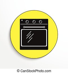 Household appliances. Oven. - Black and white vector image.