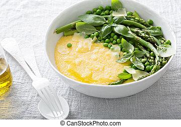 Cheesy polenta with plenty of vegetables - Cheesy polenta...