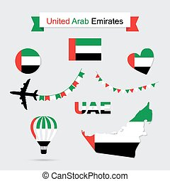 United Arab Emirates symbols - UAE flag and map icons set...