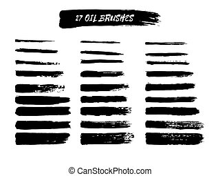 Vector set of brush strokes - Vector set of grunge brush...