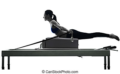 woman pilates reformer exercises fitness isolated - one...