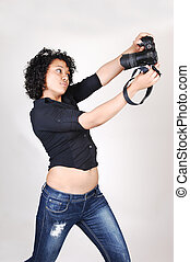 Young girl with camera.