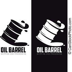 barril, aceite, negro