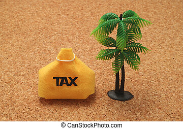 Tax and palm trees offshore island Financial concept