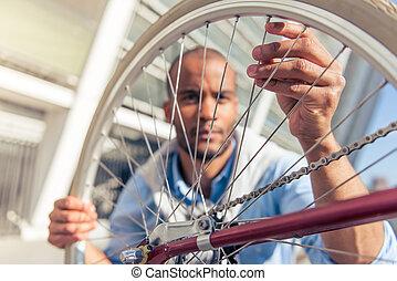 アフリカ, アメリカ人, 自転車, 人
