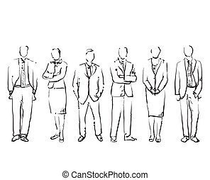 Group Of Hand Drawn Business People
