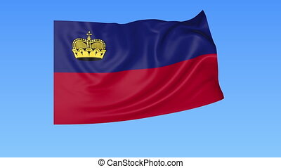 Waving flag of Liechtenstein, seamless loop. Exact size,...
