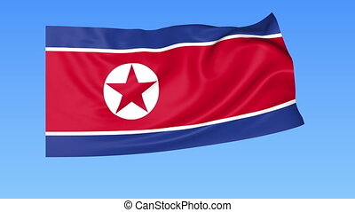 Waving flag of North Korea, seamless loop. Exact size, blue...