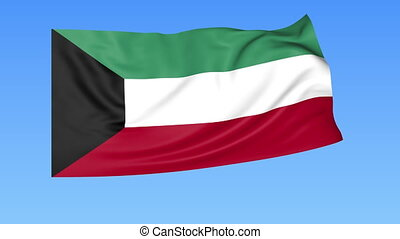 Waving flag of Kuwait, seamless loop. Exact size, blue...