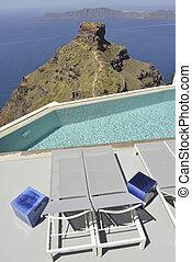 swimming pool at resort Imerovigli, Santorini Greece
