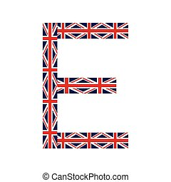 Letter E made from United Kingdom flags on white background