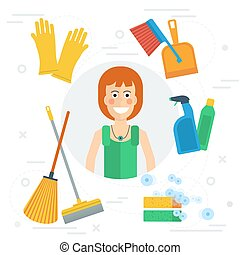 Cleaning lady concept - Vector cleaning lady concept in flat...