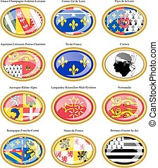 Regions of France flags. - Set of icons. Regions of France...