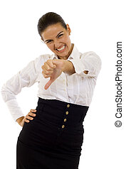 thumbs down - Young woman gesturing thumbs down over white