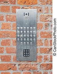Intercom doorbell and access code - close-up on a intercom...