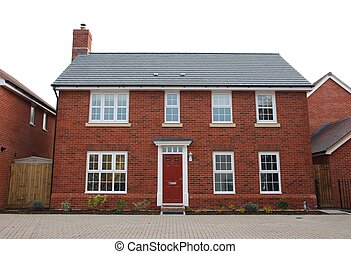 Detached red brick house - detached and typical british...