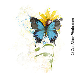 Blue Butterfly on a Flower - digital painting of Blue...