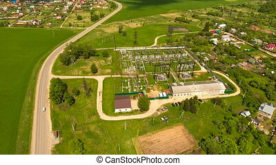 Electrical substation,power stationaerial view - Aerial...