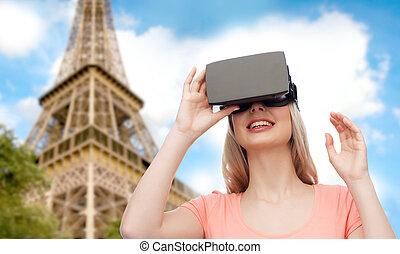 casque à écouteurs, femme, virtuel, réalité, 3D, ou,...
