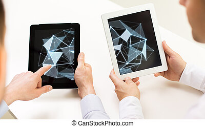 close up of businessman hands with tablet pc - science,...