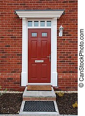 Red brick house (entrance detail) - entrance of a typical...