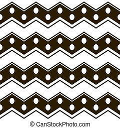 Wide horizontal zigzag stripes with circles seamless pattern