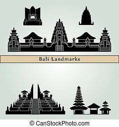Bali landmarks and monuments isolated on blue background in...