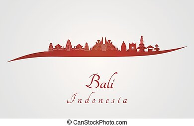 Bali skyline in red and gray background in editable vector...
