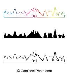 Bali skyline linear style with rainbow in editable vector...