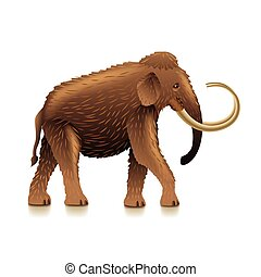 Mammoth isolated on white vector - Mammoth isolated on white...