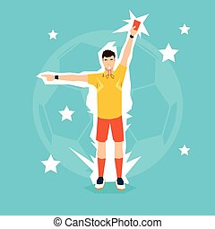 Football Referee Whistle Show Yellow Card Flat Vector...