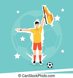 Football Referee Hold Flag Flat Vector Illustration