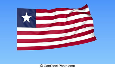 Waving flag of Liberia, seamless loop. Exact size, blue background. Part of all countries set. 4K ProRes with alpha