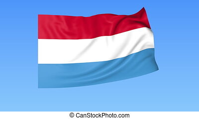 Waving flag of Luxembourg, seamless loop. Exact size, blue background. Part of all countries set. 4K ProRes with alpha
