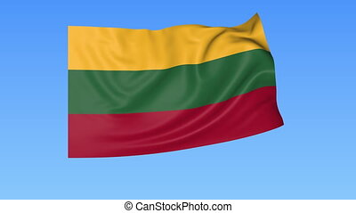 Waving flag of Lithuania, seamless loop. Exact size, blue...