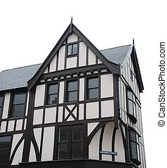 Black and white tudor house (isolated) - beautiful black and...