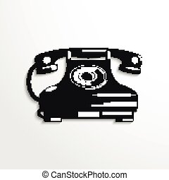 Old phone. Vector illustration.