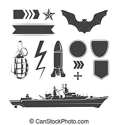 Vector elements for army, airforce and navy patches labels -...