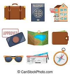 Visa application and vacation icons Passport for vacation,...