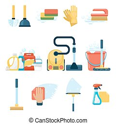 Household supplies and cleaning tools flat icons vector...