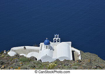 traditional blue and white chapel at Imerovigli, Santorini...