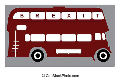 brexit bus - icon of english bus dubble decker with brexit...