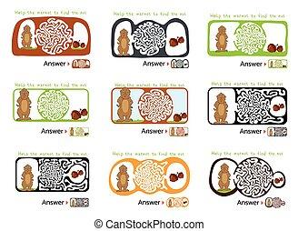 set, di, labirinto, puzzle, per, bambini, con, marmotta, e,...