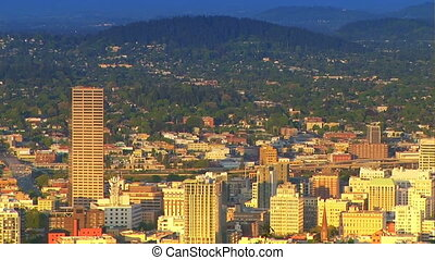 Portland, Oregon, Zoom Out - Downtown Portland, Oregon with...