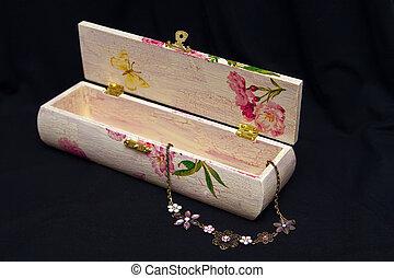Cor-de-rosa,  decoupage, caixa